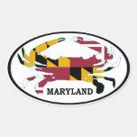 Décalque ovale de drapeau de crabe du Maryland (pl Autocollant