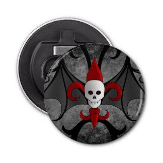 Décapsuleur Crâne et fleur de lis rouge de Halloween