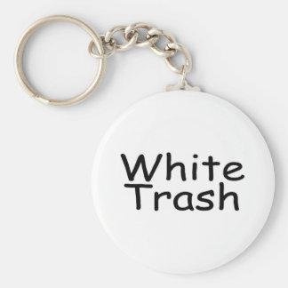 Déchets blancs porte-clé rond