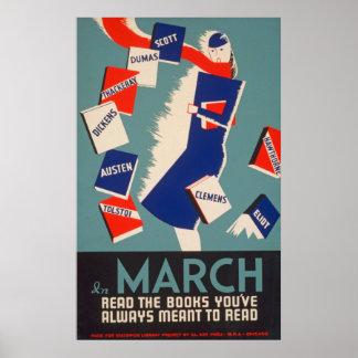 Deco de style bohème mars lisant le poster vintage