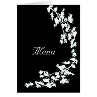 Deco floral blanc épousant la carte de menu
