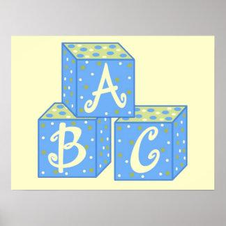Décor bleu de mur de cubes posters
