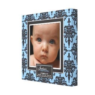 Décor bleu élégant de naissance de photo de bébé d toiles tendues