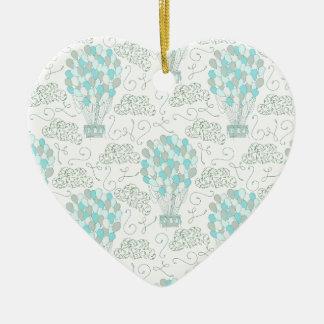 Décor chaud de crèche de bleu de turquoise de ornement cœur en céramique