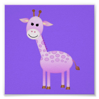 Décor de crèche de girafe de bébé affiche