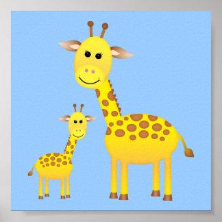 Décor de crèche de girafe de bébé affiches