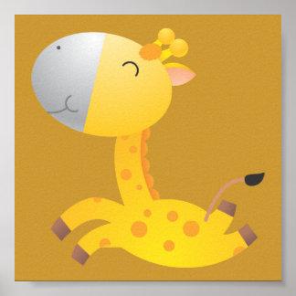 Décor de crèche de girafe de bébé posters