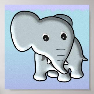 Décor de crèche d'éléphant de bébé affiche