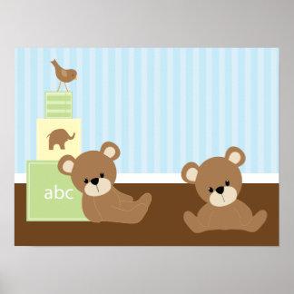 Décor de mur d enfants d ours de Brown Affiche