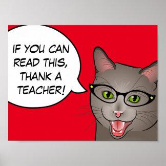 Décor de salle de classe de chat de Merci de Affiche