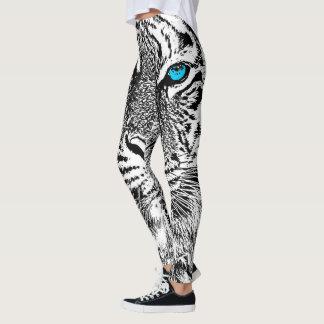 Décor d'yeux bleus de tigre dessus leggings