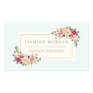 Décor floral de boutique d'aquarelle en pastel carte de visite standard