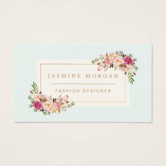 Décor floral de boutique d'aquarelle en pastel cartes de visite