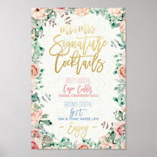 Décor floral de mariage de menu de boissons de poster