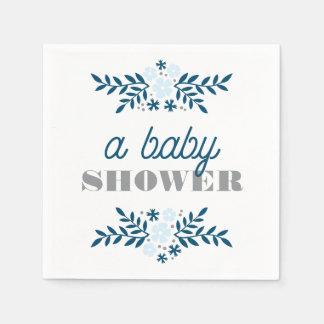 Décor floral folklorique de baby shower de gris serviette jetable