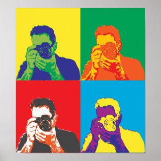 Décor lumineux d'appareil-photo de photographe de posters