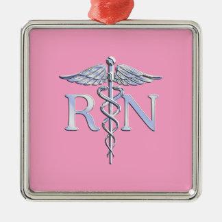 Décor rose-clair de caducée argenté d'infirmier ornement carré argenté