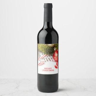Décor vert et rouge de Noël Étiquette Pour Bouteilles De Vin