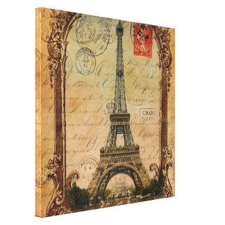 décor vintage de Tour Eiffel de paysage de Paris Toiles