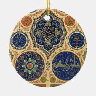 Décoration Arabe, plat XXVII 'd'O polychrome Ornement Rond En Céramique