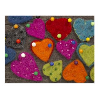 décoration de coeur de textile carte postale