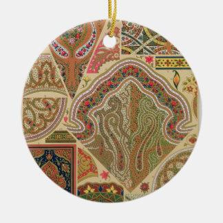 Décoration indienne, plat XIX 'd'Orna polychrome Ornement Rond En Céramique