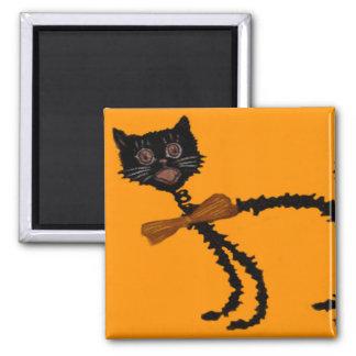 Décoration souple de Halloween de chat noir Magnet Carré