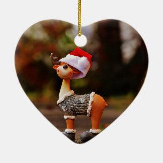 Décorations de renne - renne de Noël Ornement Cœur En Céramique