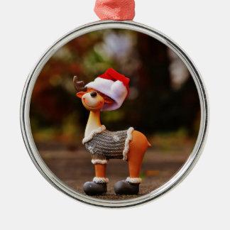 Décorations de renne - renne de Noël Ornement Rond Argenté