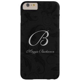 Décoré d'un monogramme classique de damassé noire coque barely there iPhone 6 plus
