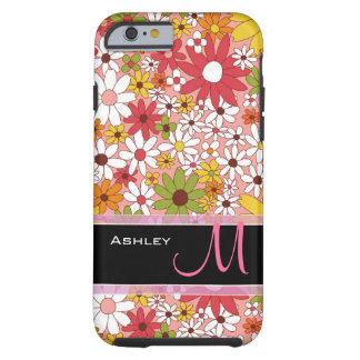 Décoré d'un monogramme floral élégant de fleur coque tough iPhone 6