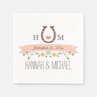 Décoré d'un monogramme rougissent le mariage en serviettes jetables