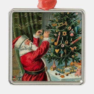 Décorer-Ornement vintage d'arbre de Père Noël de Ornement Carré Argenté