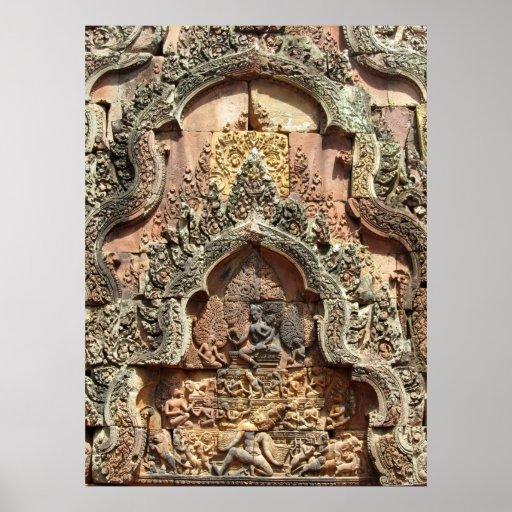 Découpages 1 de Chandi de temple de Banteay Srei Affiche