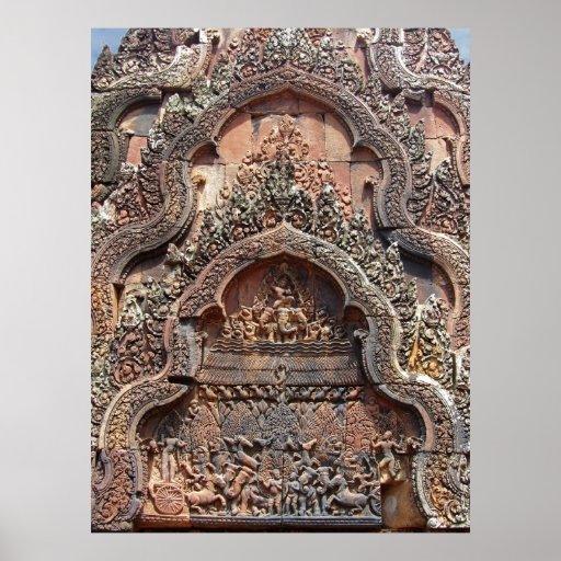 Découpages 2 de Chandi de temple de Banteay Srei Affiche