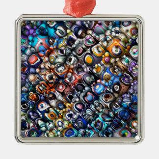 Découpes chaotiques colorées ornement carré argenté