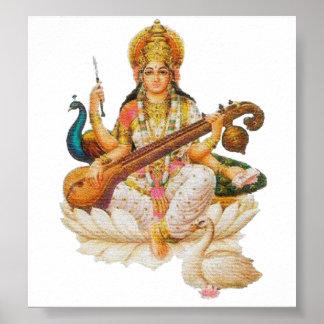 Déesse indoue de Saraswati de déesse pour Posters