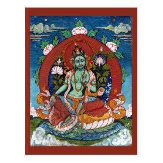 Déesse tibétaine verte Tara de compassion Carte Postale