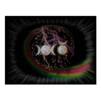 Déesse triple stupéfiante de Wiccan cosmique Carte Postale