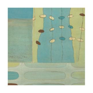 Défilé bleu abstrait d'oeufs impression sur bois