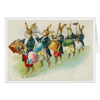 Défilé de lapin de Pâques !  Carte de voeux de