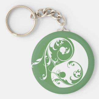 Défilement Yin et Yang (vert) Porte-clé Rond