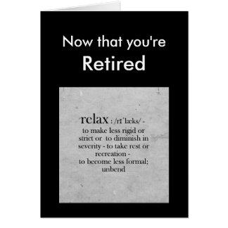 Définition de retraite de la salutation d'humour carte de vœux