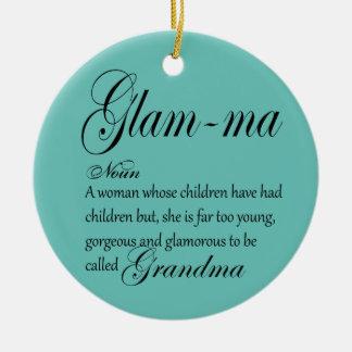 Définition FASCINANTE de grand-maman de mA Ornement Rond En Céramique