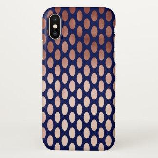 dégagez le motif de pois rose de bleu marine d'or coque iPhone x