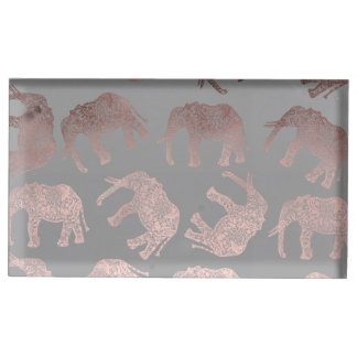 dégagez le motif tribal d'éléphant de feuille d'or porte-photo