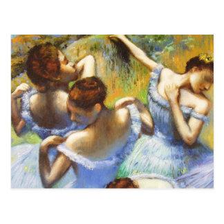 Dégazez la carte postale bleue de danseurs
