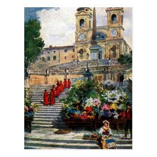 Dei vintage Monti de Trinita d'aquarelle de Rome Carte Postale