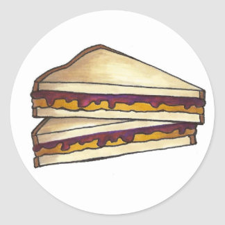 Déjeuner du sandwich PBJ à beurre d'arachide et à Sticker Rond