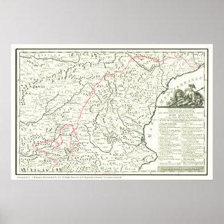 Del Quijote de Carte-Mapa de la Ruta d'itinéraire Posters